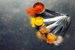 Colorful spices in metal spoons Royalty Free Stock Photo