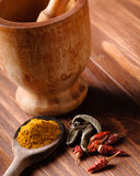 Colorful spices with mortar Stock Photography