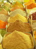 Colorful spices on an oriental bazaar. Piles of spices on an oriental bazaar Royalty Free Stock Photo