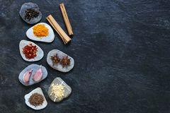 Colorful spices on pebbles with cinnamon Stock Photography
