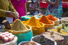 Colorful spices powders and herbs in traditional street market i. N Delhi. India Royalty Free Stock Photo