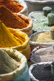 Colorful spices powders and herbs in traditional street market i. N Delhi. India Stock Image