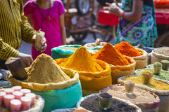 Colorful spices powders and herbs in traditional street market i. N Delhi. India Stock Photo