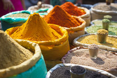 Colorful spices powders and herbs in traditional street market i. N Delhi. India Royalty Free Stock Image