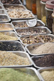 Colorful spices powders and herbs in traditional street market i. N Delhi. India Royalty Free Stock Photography