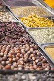 Colorful spices powders and herbs in traditional street market i. N Delhi. India Royalty Free Stock Photos