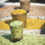 Colorful spices powders and herbs in traditional street market i. N Delhi. India Stock Photography