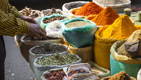 Colorful spices powders and herbs in traditional street market i. N Delhi. India Stock Photos