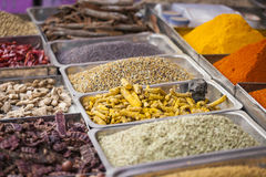 Colorful spices powders and herbs in traditional street market i. N Delhi. India Royalty Free Stock Images