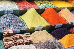 Colorful spices at spice bazaar in Istanbul, Turkey Royalty Free Stock Images