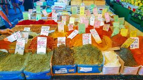 Colorful spices in Tel-Aviv, Israel stock photography