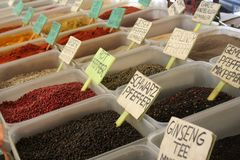 The colorful spices in a Turkish market royalty free stock photography