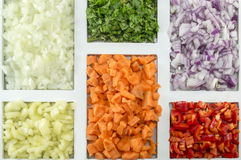 Colorful spices, vegetables and food ingredients ordered on a re Stock Images