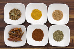 Colorful Spices in White Bowls Stock Photo