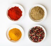 Colorful spices in white pods Stock Photography