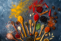 Colorful spices in wooden spoons, seeds, herbs and nuts on dark stone table. Various indian spices in wooden and silver spoons and metal bowls, seeds, herbs and royalty free stock photography