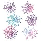 Colorful spider web isolated. Colorful spider web of set isolated on white background. Vector illustration Royalty Free Stock Photo