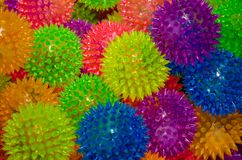 Spikey Balls. Colorful spikey balls used for massage or theraphy or sometimes as a toy for kids Stock Photography