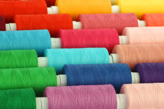 Colorful spindles of yarn royalty free stock photos