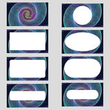 Colorful spiral art business card template set Stock Photos