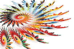 Colorful Spiral Fractals Resembling Feathers. A computer generated fractal image Stock Photography