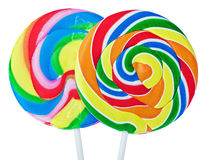 Colorful spiral lollipop isolated on white Stock Photography