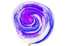 Colorful spiral lollipop isolated on white Stock Photos