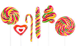 Colorful spiral lollipop isolated on white background Royalty Free Stock Images