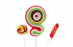 Colorful spiral lollipop lolly pop Stock Photos