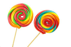 Colorful spiral lollipops on white background Stock Image
