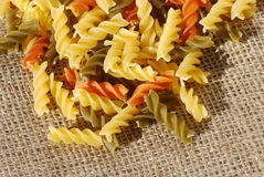 Colorful spiral shaped pasta Royalty Free Stock Photo