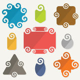 Colorful spiral shapes tag design elements icons set Royalty Free Stock Image