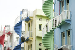 Colorful old spiral staircases singapore city Royalty Free Stock Image