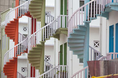Colorful spiral stairs of Singapore's Bugis Village Royalty Free Stock Images