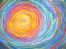 Colorful spiral sun power background watercolor painting Royalty Free Stock Images
