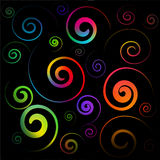 Colorful spirals. Vector - colorful spirals on a black background Royalty Free Stock Photo