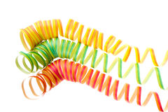 Colorful spirals. Colorful carnival strips isolated on white background Stock Photos