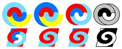 Colorful spirals 1 - 8. Eight colorful spirals 1 - 8 Royalty Free Stock Photos