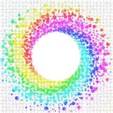 Rainbow Squares around a Circle Frame. Colorful spirograph squared colors appearing around a circular frame. Rainbow swirl colors Royalty Free Stock Images