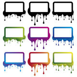 Colorful splash banners. Colorful square banners with spattered side and text area Vector Illustration