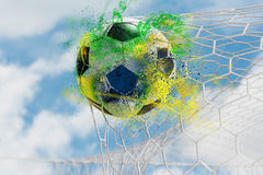 Colorful splash soccer ball. Shoot the ball into the goal, Succeed and triumphantly, Success in the bright sky stock photos