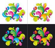 Colorful splashes. Bright colorful splashes on white and black Royalty Free Stock Images