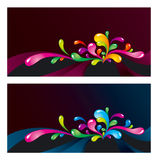Colorful splashes design. Bright colorful splashes on dark backgrounds Stock Photography