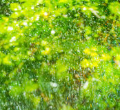 Colorful splashes and drop on a natural background Royalty Free Stock Images