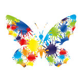 Colorful splashes in the form of a butterfly Stock Image