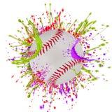 Colorful splashing with baseball Royalty Free Stock Photo
