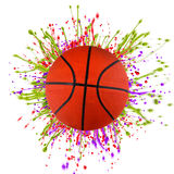 Colorful splashing with basketball Royalty Free Stock Photography