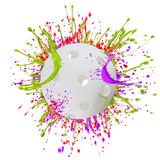 Colorful splashing with floorball Stock Photography