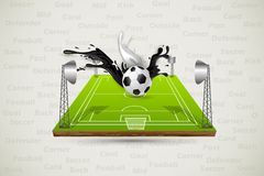 Colorful Splashy Soccer Ball. Easy to edit vector illustration of colorful splashy soccer ball in field Stock Photo