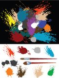 These are colorful splats. These are colorful vector splats silhouette and two brush Stock Image